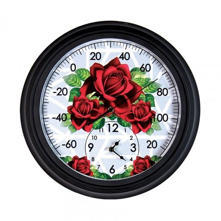 "Outdoor Wall Clock Thermometer Pool Patio Home Decor Indoor Rose Garden 14"" New #Exhart #Contemporary #ShoppingRay #DanAnnStore"