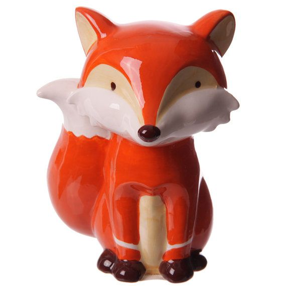 Money Box Fun Sitting Fox Ceramic Unique Gift by getgiftideas