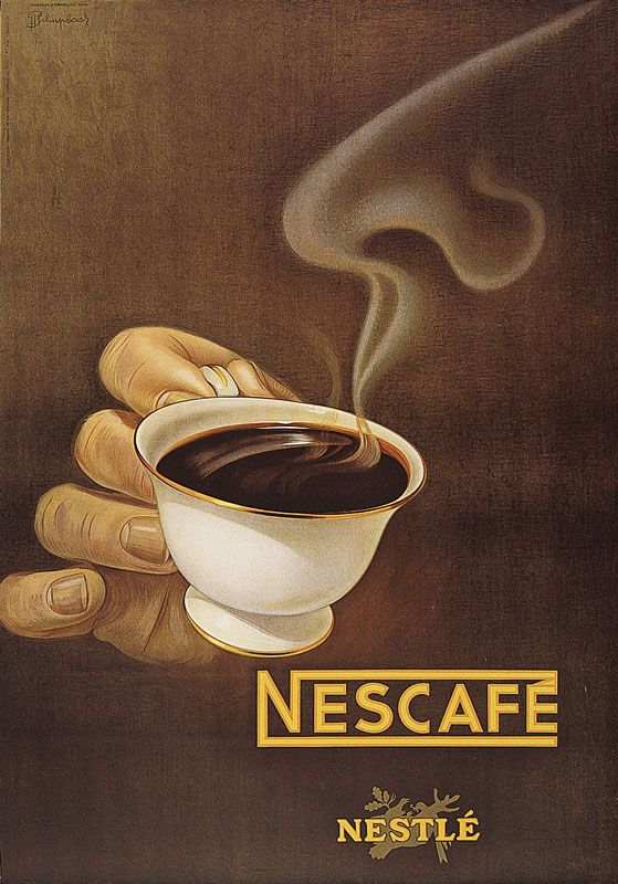 Nestlé Nescafé. 1949. Plakat von Jean Pierre Schüpbach.