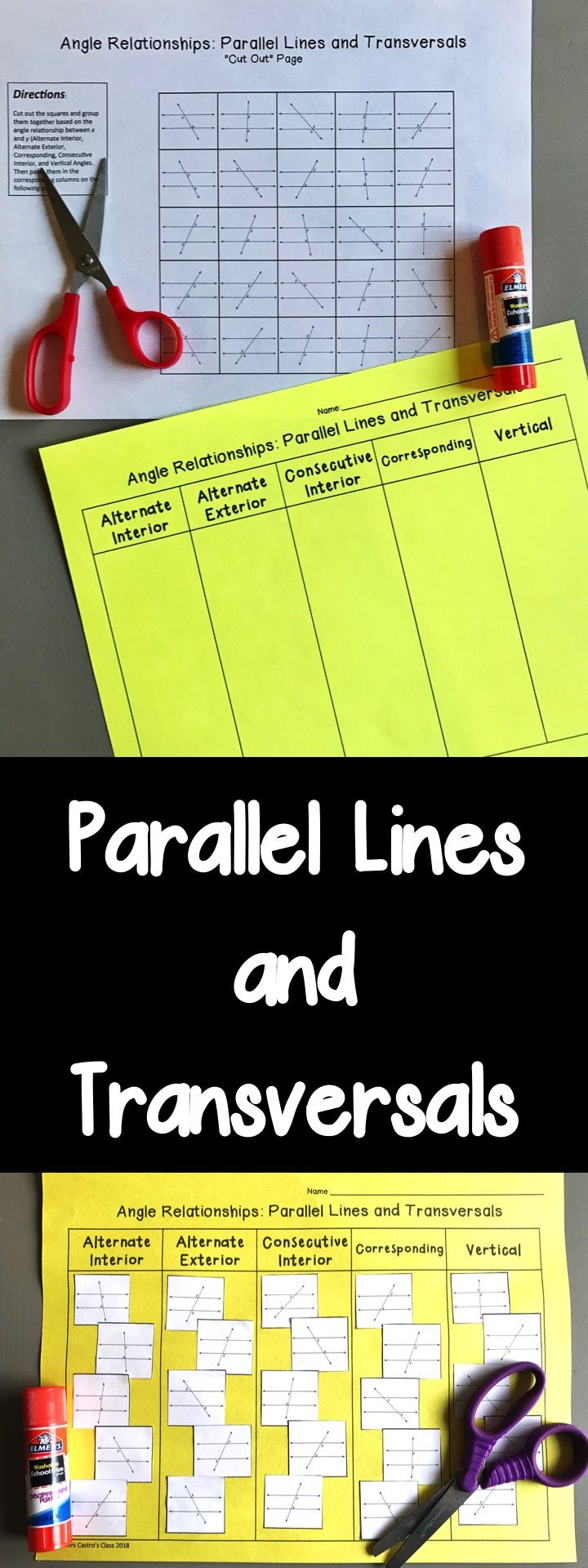 Parallel Lines and Transversals Activity for High School Geometry