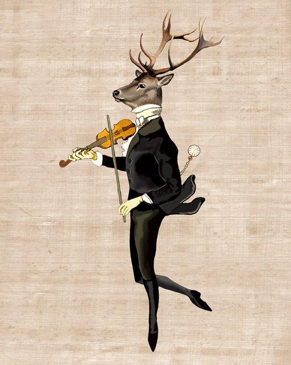 Dancing Deer 8X10 Art Print Digital Print Acrylic by LoopyLolly, $26.00