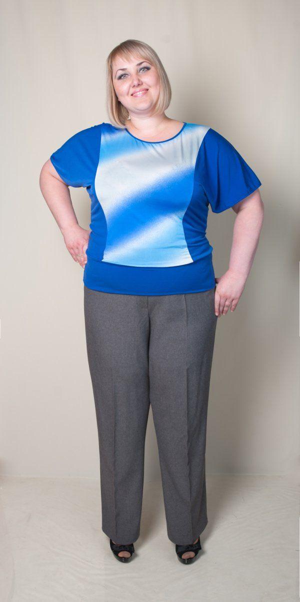 Блуза женская (разлетайка). Цвет электрик, вставки белого. Длина 73 см.