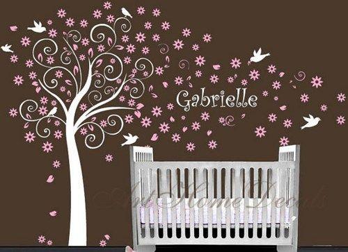 baby nursarys with names | Baby Nursery Blossom Flower Tree Custom Name Bird Bedroom Man wall ...