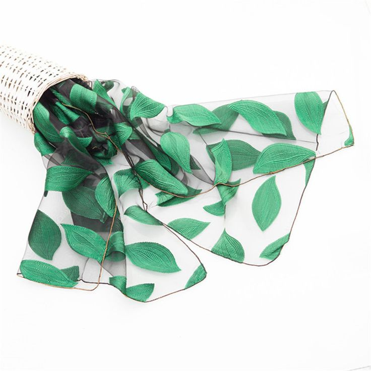 2017 New Ogensa Silk Scarf Women Spring Scarves National Wind Embroidery Leaves Scarves Transparent Sunscreen Scarf