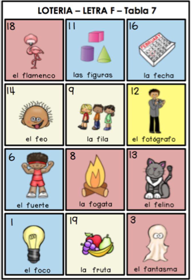 Juego de loteria infantil para el repaso de la letra f y las sílabas fa, fe, fi, fo, fu. Spanish Bingo