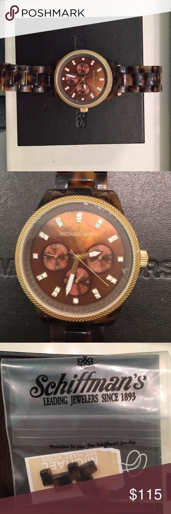 Michael Kors watch Women's Gold tortoise watch with extra links that were taken out. Comes in original box and the outside face and band show no signs of wear Michael Kors Accessories Watches