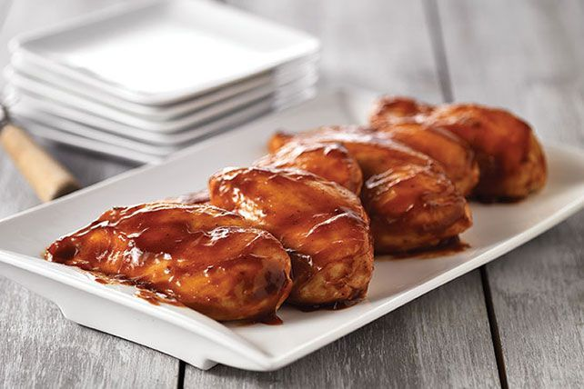 Saucealicious. Is that a word? We hope so because it's the only way to describe these chicken breasts baked in spicy-sweet BBQ sauce.