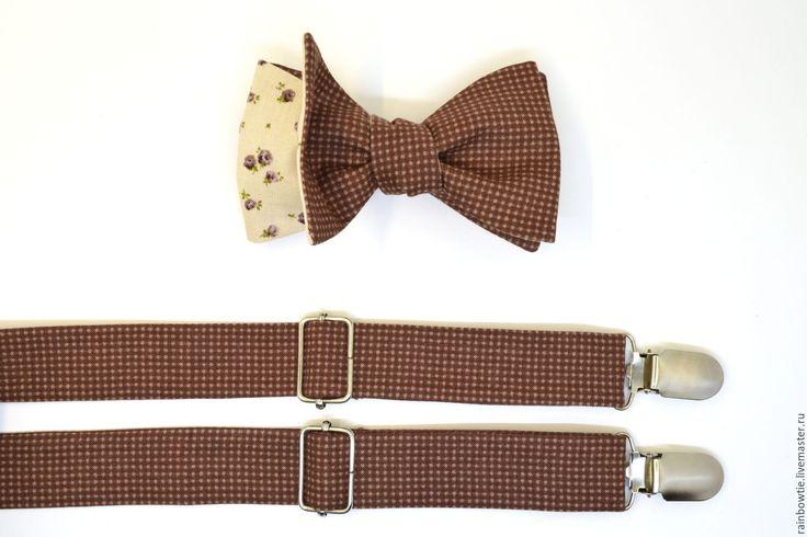 Купить Комплект бабочка и подтяжки в мелкую коричневую клеточку/самовяз 2в1 - коричневый, в клеточку, галстук-бабочка
