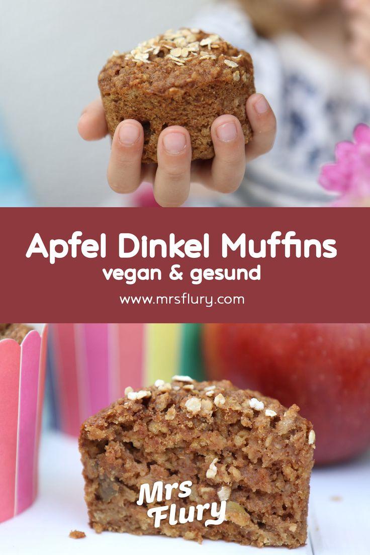 Saftige Apfel Dinkel Muffins Vegan – ideal für Kinder, Frau Flury Rezept   – Party Rezepte – Kindergeburtstag – Deko