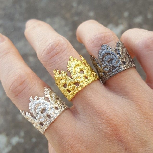 Don't forget to wear your crown! #handmade #crownrings #lacejewelry