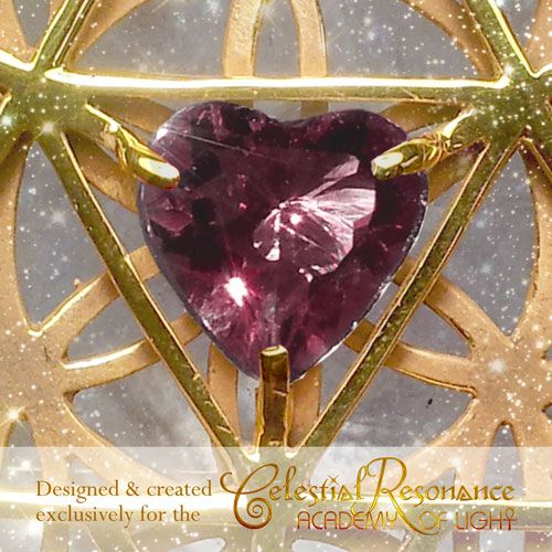Celestial Resonance Pendant (22ct Gold Platted Silver & Rhodolite Garnet).  A popular power piece in the CELESTIAL TEMPLE JEWELRY COLLECTION! Features a 3d merkabah, with garnet heart & seed of life. Supports you to fully receive celestial frequencies, to move in celestial flow, with the divine timing of your life, to support your spiritual growth & well being. Learn More & purchase: http://www.kyrona.com/?p=12102 #spiritualjewelry, #crystaljewelry, #goldjewelry, #merkabah, #powerjewelry