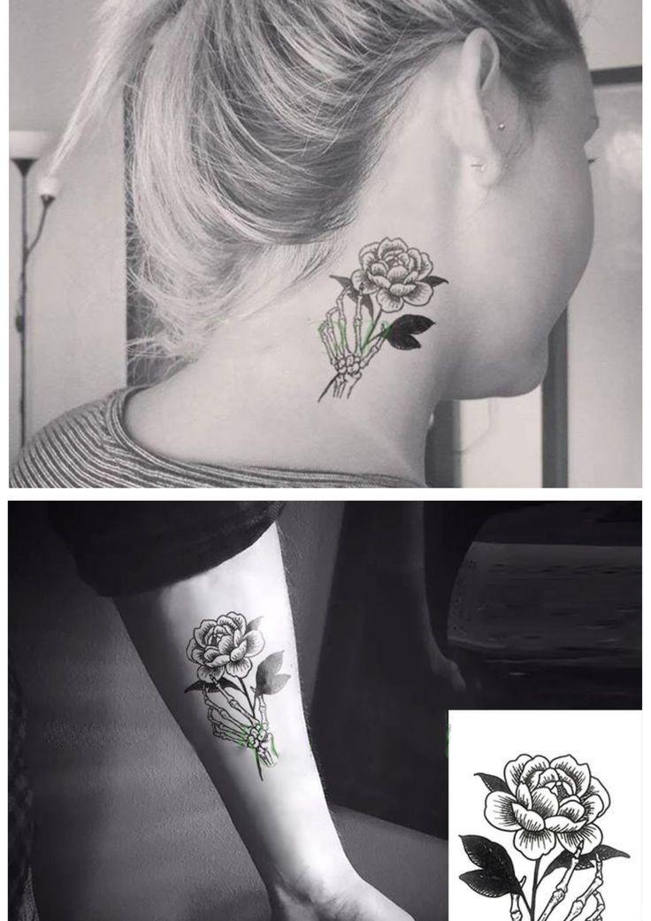 Skeleton Hand Tattoo, Rose