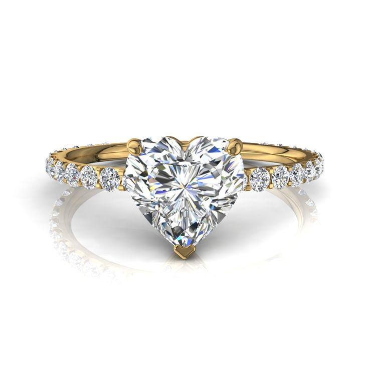 Bague de fiançailles pour femme, solitaire bague diamant coeur 1,1 carats or jaune Valentine-coeur  #diamants #CamogliEmeraude #PendentifDiamant #BagueDeFiancaille #SolitaireBagueDiamant #BagueDiamant #Over500 #Solitaire4Griffes #capucine #OrJaune