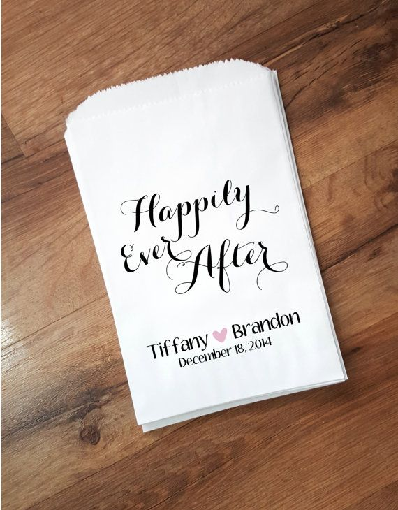 Happily Ever After Wedding Favor Bag Candy Buffet Bags Personalized Rustic