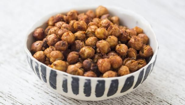 This healthy, spicy take on popcorn is easy to make and ideal snacking material for anyone avoiding the biscuit tin.  One serving provides 189 kcal, 9g protein, 19g carbohydrate (of which 0.5g sugars), 8.5g fat (of which 4g saturates), 7g fibre and 2.2g salt.