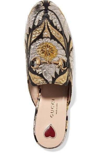 Gucci - Princetown Horsebit-detailed Metallic Floral-jacquard Slippers - Gold - IT41.5
