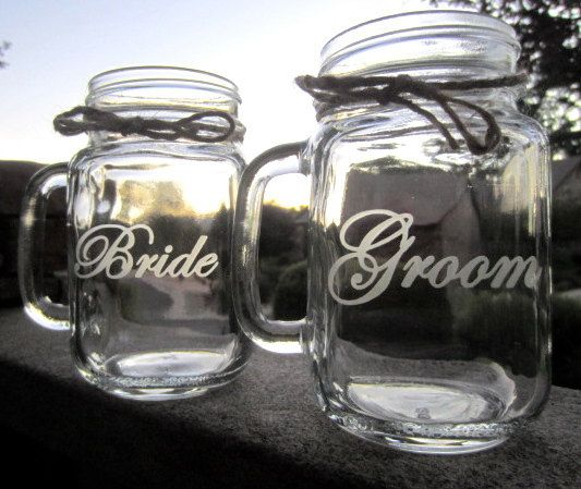 Bride Groom Mason Jar Wedding  Mugs Mason Jar by EtchedExpressions, $24.00