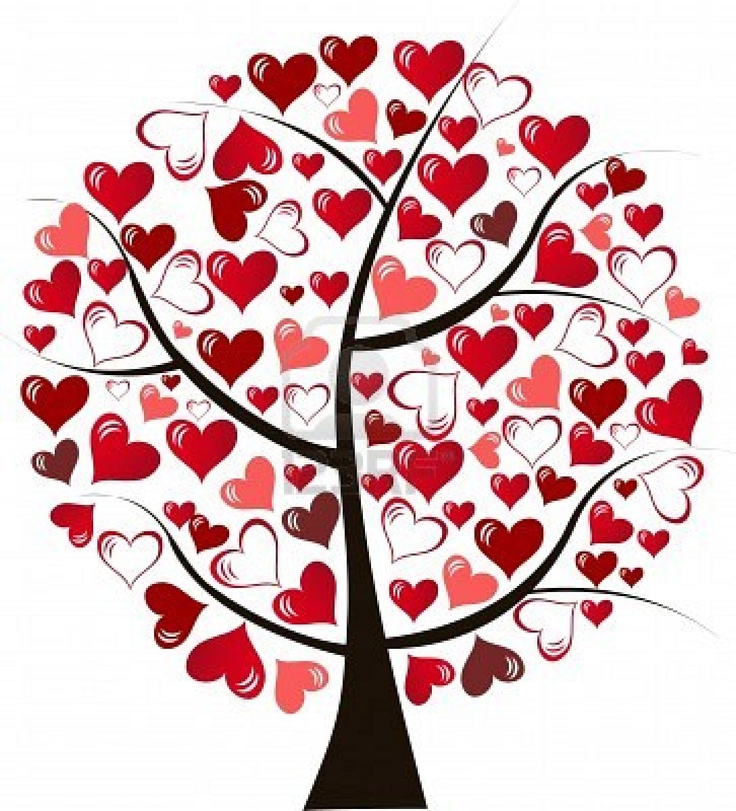 Illustration stylized love tree made of hearts