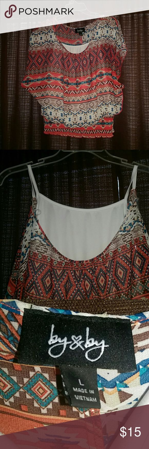 Short sleeved baggy shirt Great condition! Has spaghetti strap shirt sewed inside. By & By Tops Blouses
