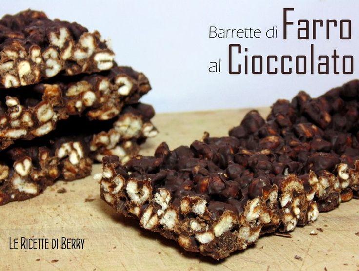 Barrette di Farro Soffiato al Cioccolato Fondente | Le Ricette di Berry. Il farro è più croccante e ha un sapore più forte rispetto al riso soffiato, che