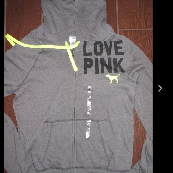Gray/Neon Yellow Zip Up Hoodie VS zip up hoodie, gray with neon yellow accents, super soft. Has sticker, tag fell off. Never worn. Size S, fits S or M PINK Victoria's Secret Sweaters