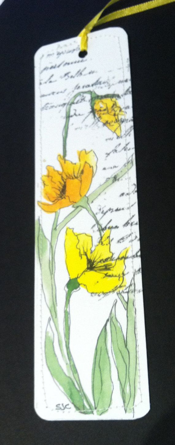 Watercolor Bookmark of Yellow Poppies by Wildflowerhouse on Etsy