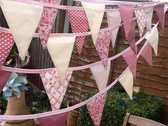 Extra Long Wedding Bunting in Dusky Pink / Garland / Fabric Banner - 35 Large Flags, 30ft  Long, Spring Celebration, Sweet sixteen