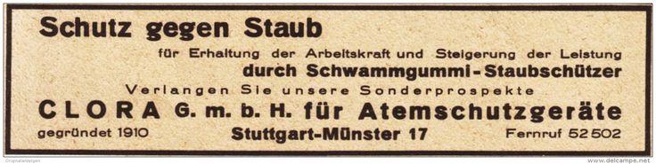 Original-Werbung/ Anzeige 1930 er Jahre - CLORA ATEMSCHUTZGERÄTE / SCHLEICH - SCHWÄBISCH GMÜND - ca. 130 x 25 mm