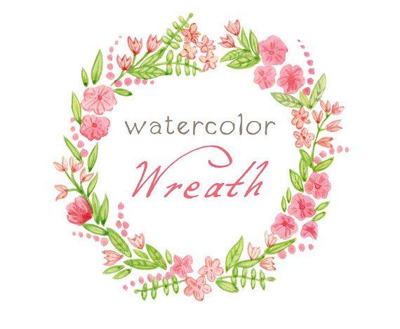 Digital Wreath Digital Clipart Watercolor by SwiejkoForPrint, $4.00