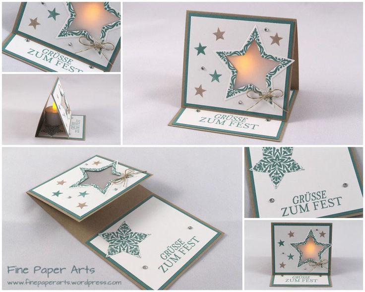 Stampin' up, Lichterkarte Sterne, Weihnachten, christmas card, Zauber der Weihnacht - Fine Paper Arts