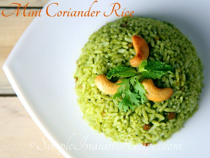 Mint-Corriander Rice: Mint and coriander leaves have abundant health benefits. Including them in our diet is very good. Try the mint-corriander rice from http://simpleindianrecipes.com/MintCorrianderRice.aspx