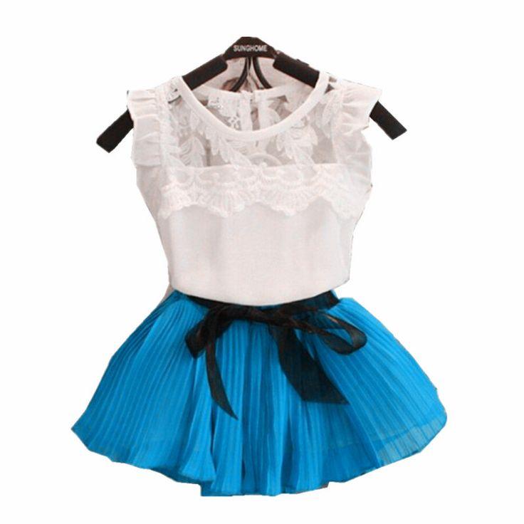 Летняя мода Детская одежда дети девушки летний шифон экипаж-образным вырезом кружева рукавов Футболка юбка набор Лук поясной ремень