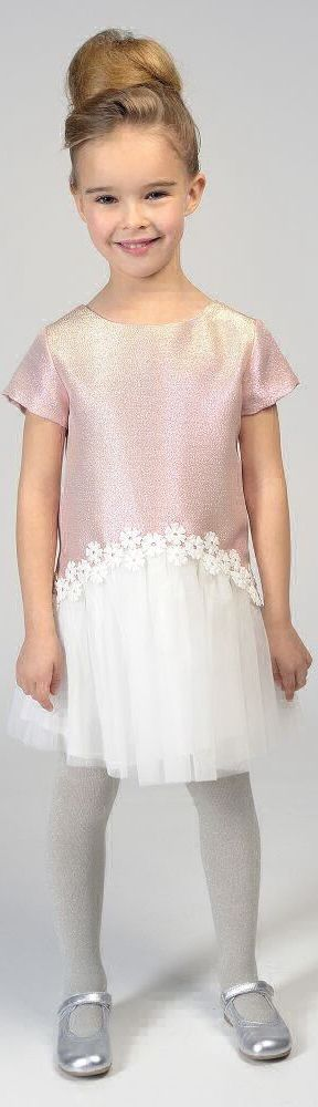 SALE !!! CHARABIA Paris Girls Designer Metallic Pink & Tulle Party Dress. Love pretty dress that shimmers from pink to gold in the light. Made from lurex with layers of white tulle with a pretty flower trim. Royal look for your Little Princess! Now on Sale! #kidsfashion #fashionkids #girlsdresses #childrensclothing #girlsclothes #girlsclothing #girlsfashion