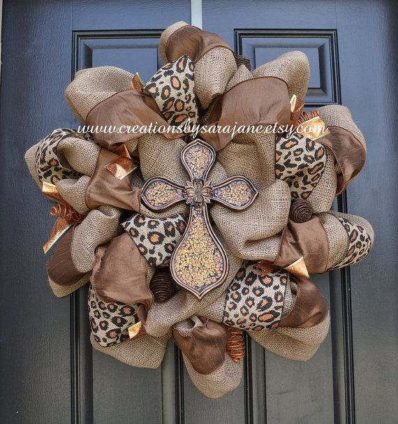 Fall Burlap Cross Wreath - Fall Wreath - Cross Leopard Print Wreath - Burlap Wreath via Etsy I WANT THIS!!