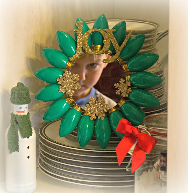 Christmas light sunburst dollar store mirror dollar for Bacon christmas tree decoration