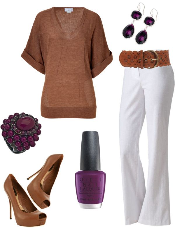 Dressy casualColors Combos, Fashion, Style, Clothing, White Pants, Brown, Work Outfit, Dressy Pants Outfit, Dressy Casual Outfits