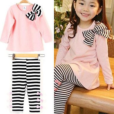 Girl's+Stripes+Bows+Clothing+Set,+Blue+Pink+Long+Sleeve+Top+And+Leggings+–+USD+$+12.99