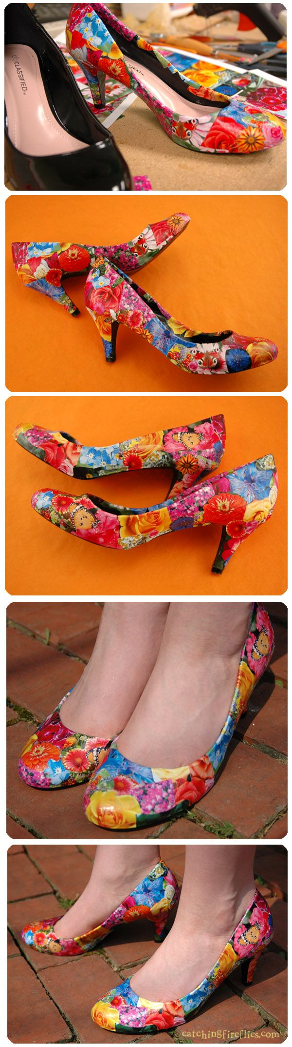 decoupaged shoes - I'm all over this! I've seen this done with comic book images too. I'm pretty sure this could <strong>мини-бар мастер класс</strong> be turned into a whole business!
