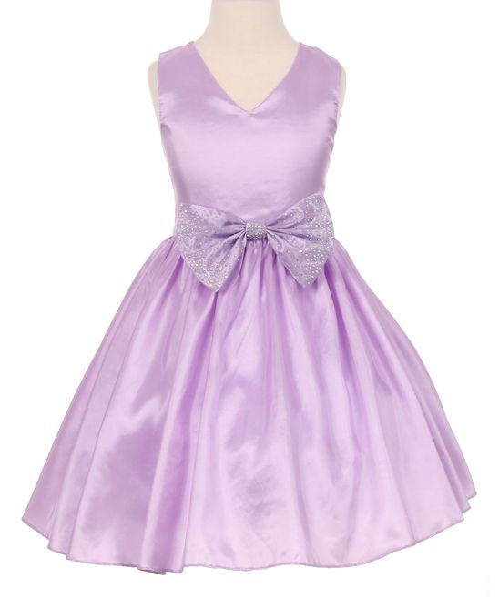 Lilac Rhinestone Bow Appliqué Fit & Flare Dress - Toddler & Girls