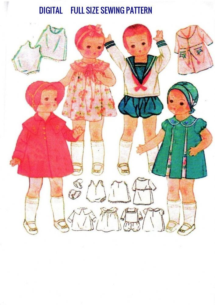 Sewing Pattern for 14 vintage Patsy and other similar sized dolls.