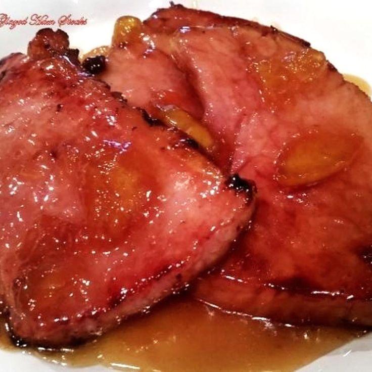 ~ Mouth Watering Peach Glazed Ham Steaks ~