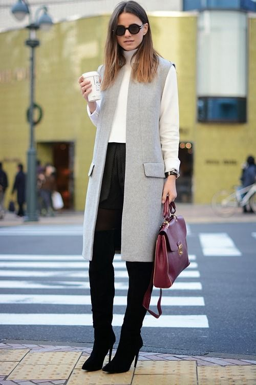 sleeveless grey coat