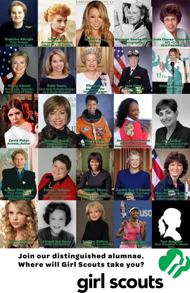 I'm doing some recruiting next week, and I made this 11x17 poster to showcase some of the Girl Scouts' famous alumnae. This isn't a statistically accurate cross section of fields and ages; I was going for recognizable people. Hopefully someone else will be able to use this for their recruitment events.