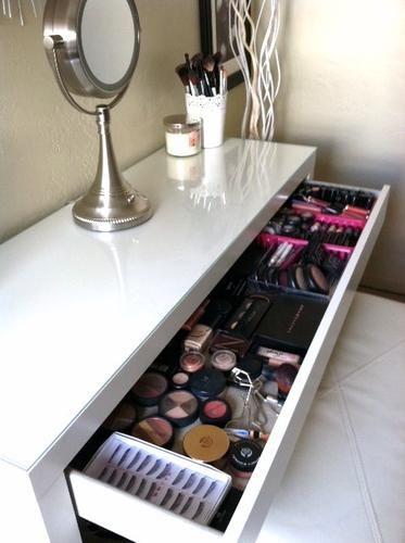 . Good idea to use a desk as a vanity. Ikea Malm desk as a vanity table.