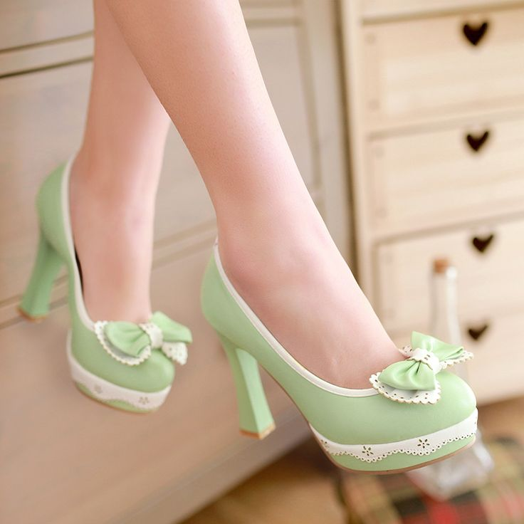 Mulheres bombas doce luz verde rodada toe de salto grosso sapatos de salto alto grosso sapatos único pequenos estaleiros 323340123 tamanho alishoppbrasil