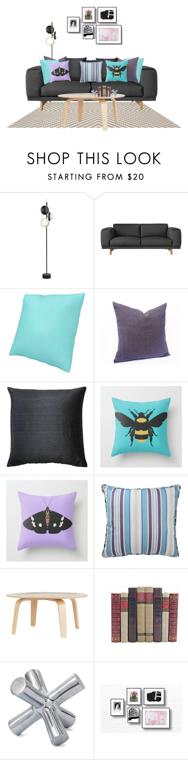 Bumble Bee & Moth by she-kills-monsters on Polyvore featuring interior, interiors, interior design, home, home decor, interior decorating, Dot & Bo, Waverly, Pillow Decor and Mitchell Gold + Bob Williams