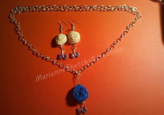 Collana e orecchini fatti a mano rose in fimo di MarienneCreations