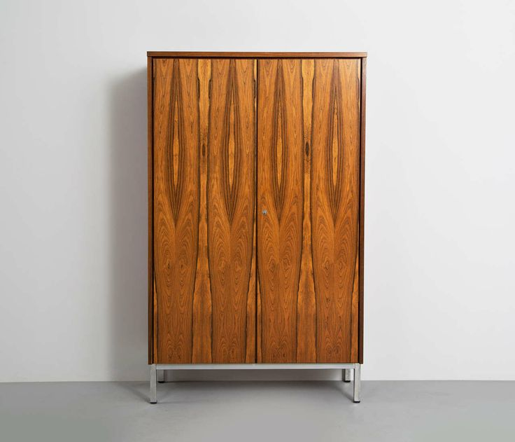 Modernist Rosewood Armoire On Chrome Base