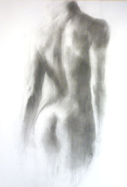 "Saatchi Online Artist: Patrick Palmer; Charcoal, 2010, Drawing ""Girl's Back Turning"""