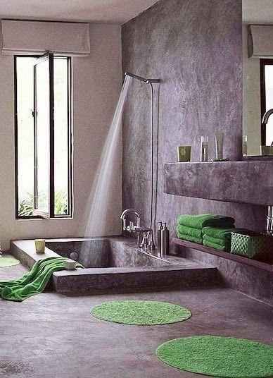 Bagno con vasca - Arredare il bagno in stile orientale con grande vasca da bagno.